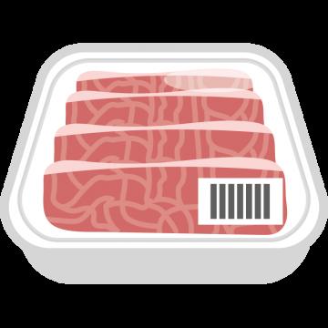 パックに入った牛肉のイラスト