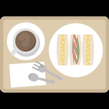 サンドイッチとコーヒーのモーニングセットのイラスト