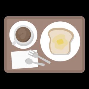 トーストとコーヒーのモーニングセットのイラスト