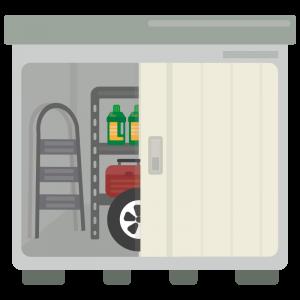 扉が開いている物置小屋のイラスト