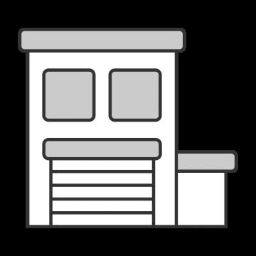 車庫付きの会社の事務所のイラスト
