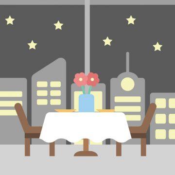 夜景が見えるレストランのディナーのイラスト
