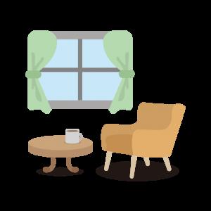 ひとり暮らしの部屋のイラスト