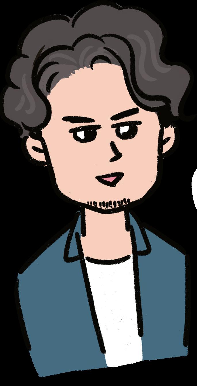 パーマであごひげの男性のイラスト