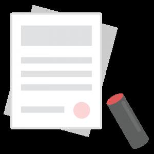 捺印された書類と印鑑のイラスト