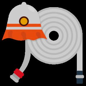 消防士の帽子と消防ホースのイラスト