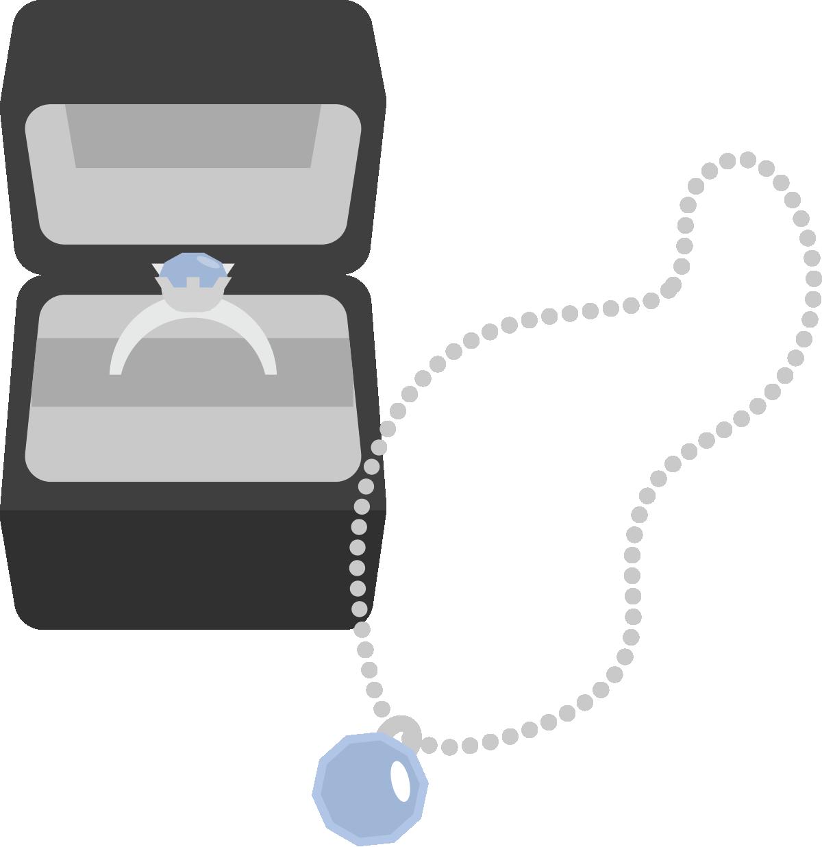 箱に入った指輪とネックレスのイラスト