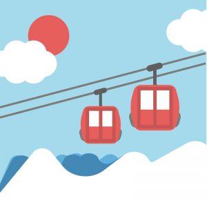 スキー場のリフトのイラスト