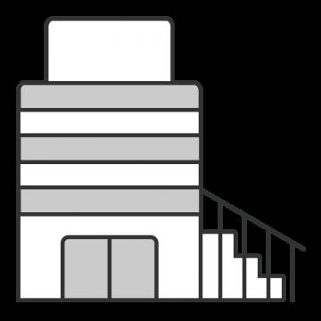 シンプルな階段付きのビルのイラスト