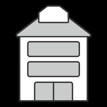 シンプルな3階建のスタジオのイラスト
