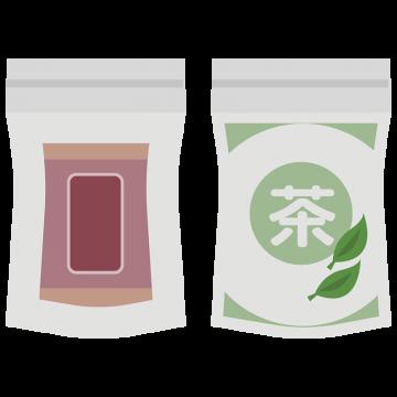 2つのお茶のパッケージのイラスト