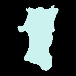 秋田県の地図だけ切り取ったやさしい色合いのイラスト
