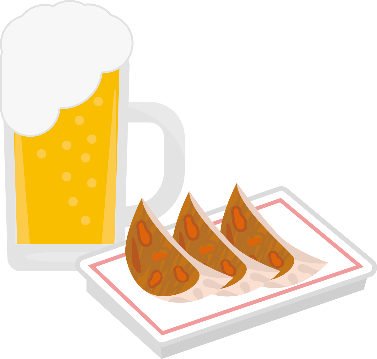 ビールと餃子のイラスト