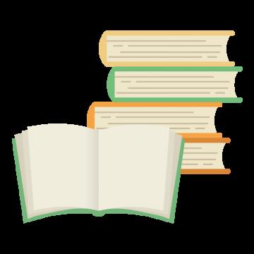 重なった本と開いた本のイラスト