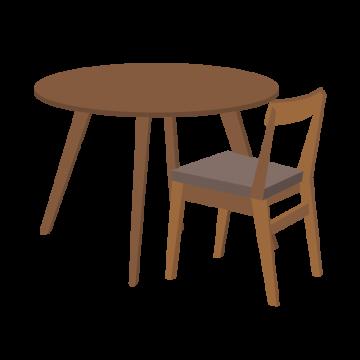 木の椅子とテーブルのイラスト