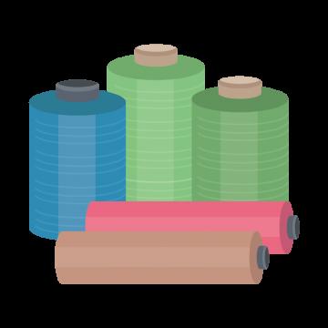 いろいろな色の布ロールのイラスト