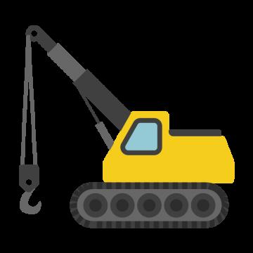 黄色のクレーン車のイラスト