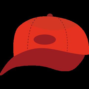 正面から見た赤い帽子のイラスト