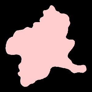群馬県の地図だけ切り取ったやさしい色合いのイラスト