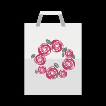 花柄の紙袋のイラスト