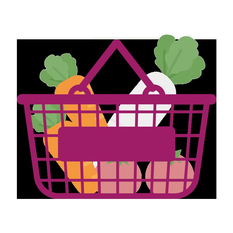 野菜が入った紫の買い物カゴのイラスト