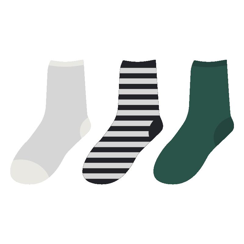 いろいろな柄の靴下のイラスト