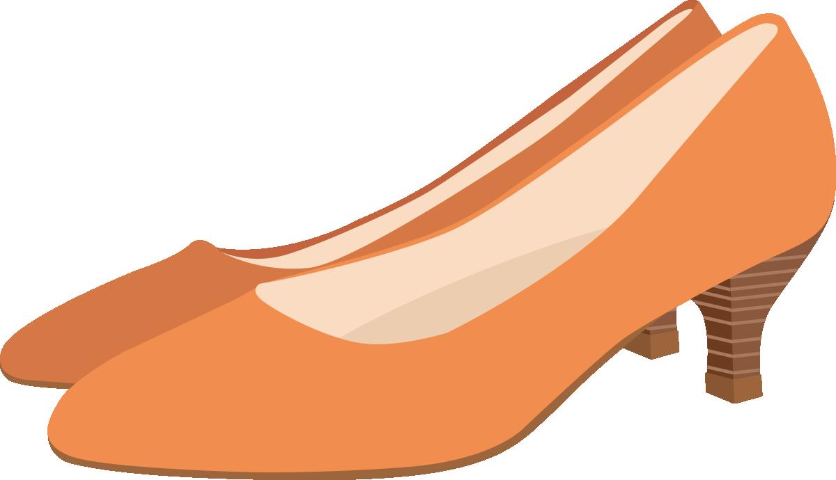 オレンジのパンプスのイラスト
