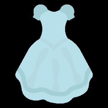水色のプリンセスドレスのイラスト