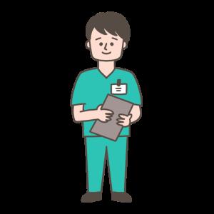 手術着の男性医師のイラスト