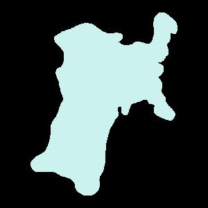 宮城県の地図だけ切り取ったイラスト