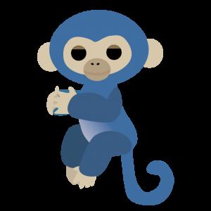 青い猿のぬいぐるみのイラスト