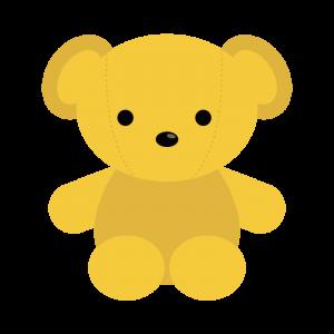 黄色のくまのぬいぐるみのイラスト