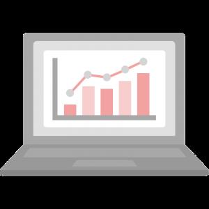 上昇グラフの画面のノートパソコンのイラスト