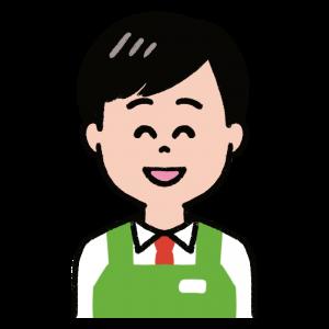 笑顔の男性店員のイラスト