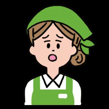 申し訳なさそうな顔をする女性店員さんのイラスト