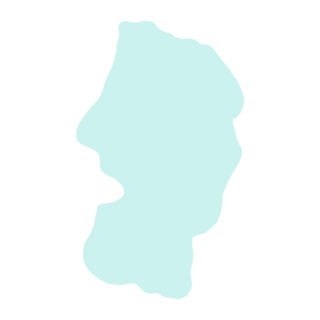 山形県の地図だけ切り取ったやさしい色合いのイラスト