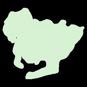 愛知県の地図だけ切り取ったやさしい色合いのイラスト