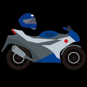バイクとヘルメットのイラスト