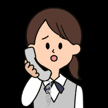 申し訳無さそうな表情で電話対応をする女性のイラスト