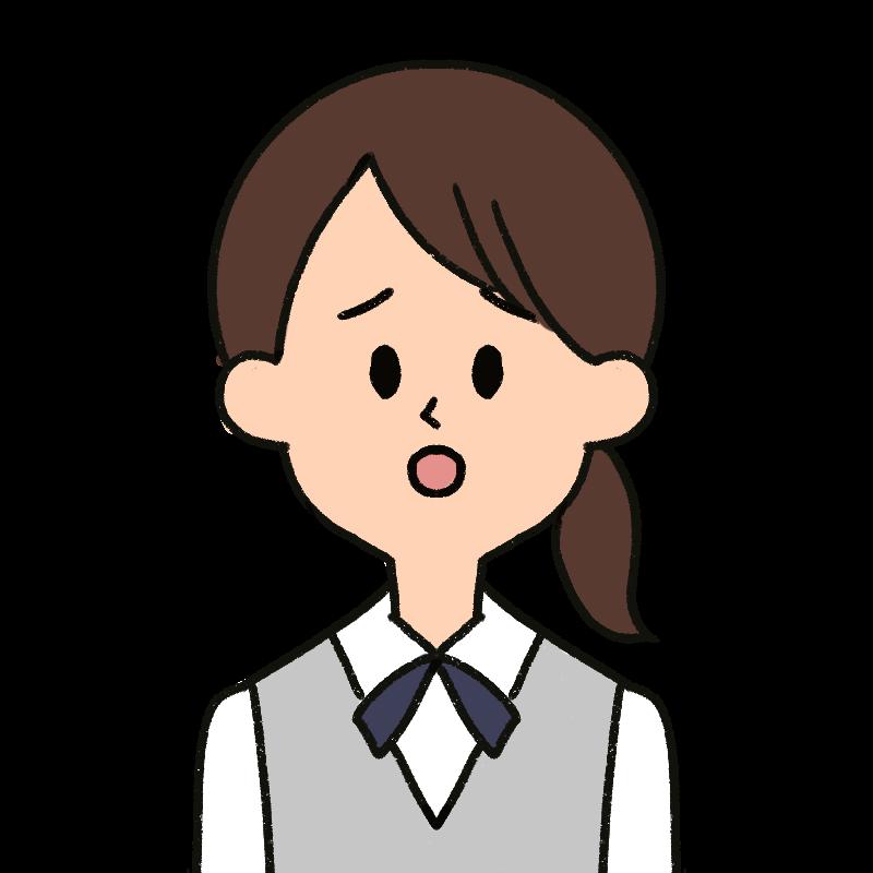 困った顔をする受付の女性をイメージしたイラスト