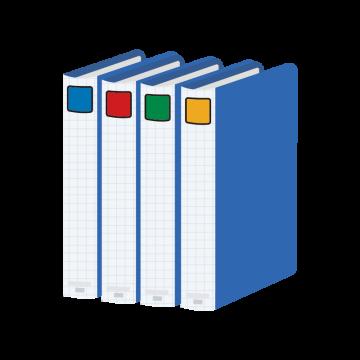 青いボックスファイルのイラスト