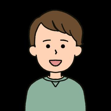 くせ毛の男性のイラスト