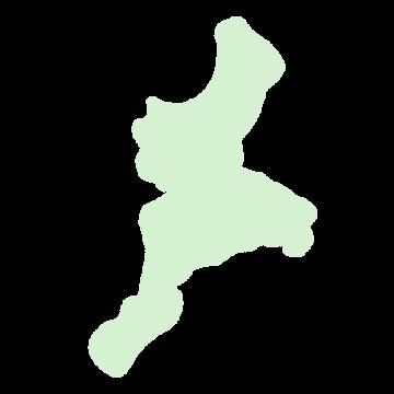 三重県の地図だけ切り取ったやさしい色合いのイラスト