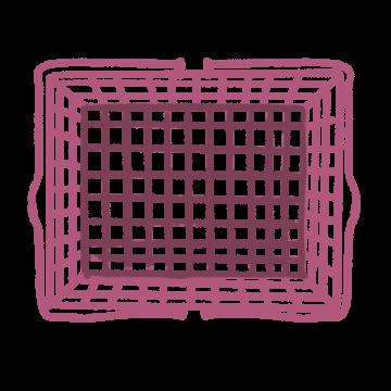 真上からみたピンク色の買い物かごのイラスト