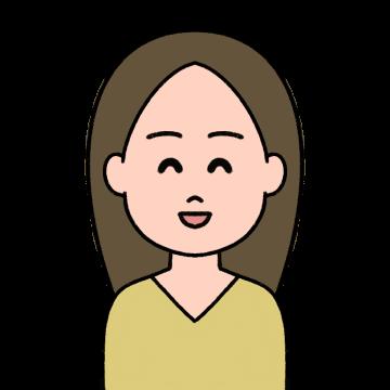 前髪をセンター分けしている笑顔の女性のイラスト