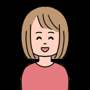 笑っているボブヘアの女性のイラスト