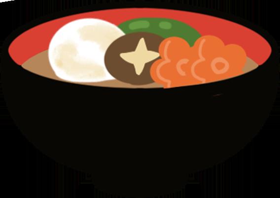 餅の入った雑煮のイラスト