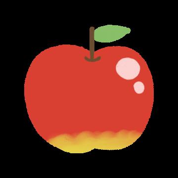葉っぱのついたりんごのイラスト
