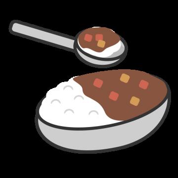 お皿に入ったカレーのイラスト
