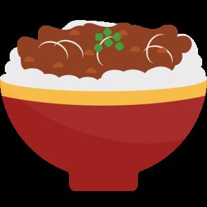 赤い器に入った牛丼のイラスト